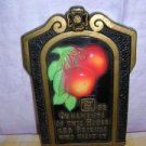 1971 Miller Studio chalkware wall plaque apples & motto AL1166