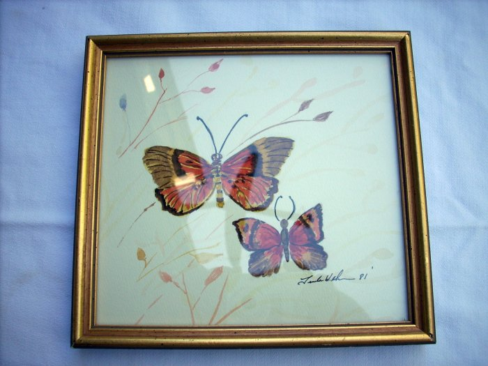 Original watercolor sketch of butterflies signed by artist Ahn framed 1981 AL1255