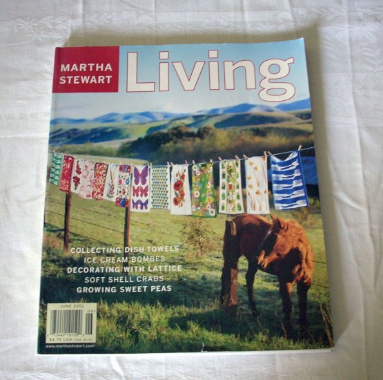 Martha Stewart Living magazine collecting vintage tea towels June 2001 AL1268