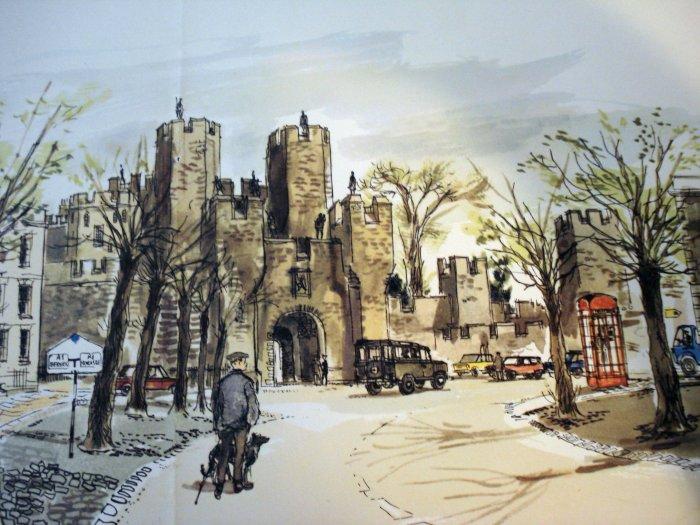 David Knight print The Barbican, Alnwick Castle Proctor and Gamble Ltd. 1964 AL1307
