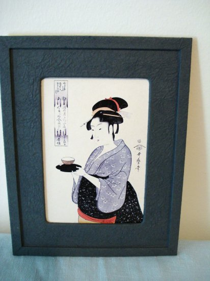 Japanese print woman serving tea framed ready to hang AL1308