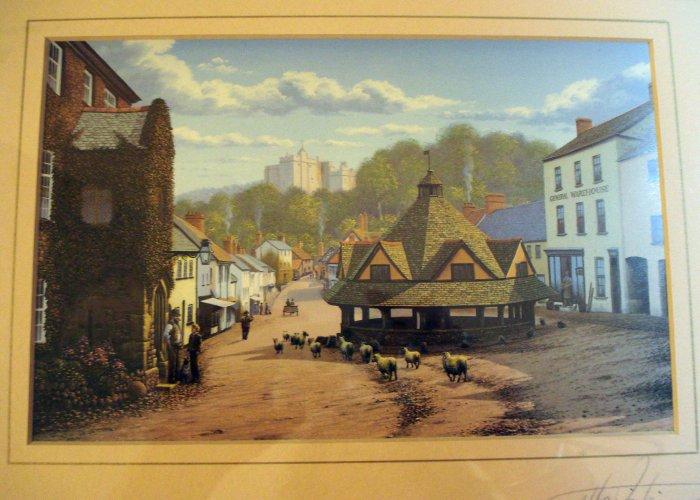 Maurice Bishop signed framed print Dunster England AL1386