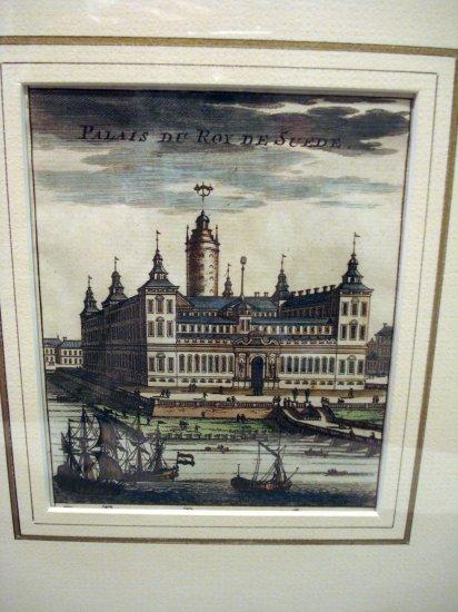 Palais du Roy de Suede tinted etching framed ca 1730 AL1470
