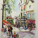 Puillery lithograph Paris Place du Tertre 1960s signed in print AL1677