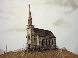 Ronald Woodall signed watercolor lithograph print derelict church chapel unframed vintage AL1695