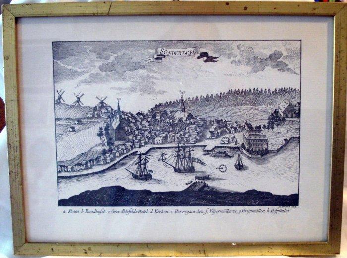 Sonderborg map woodcut framed print plate signed I G Fridrich AL1730