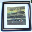 Original watercolor signed Elie rural Asian life fishing framed charming AL1475