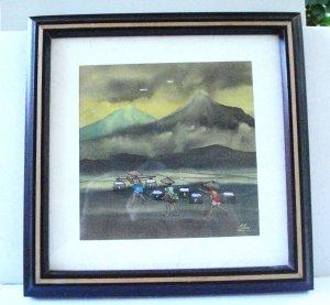 Original watercolor signed Elie rural Asian life fishing framed charming AL1475