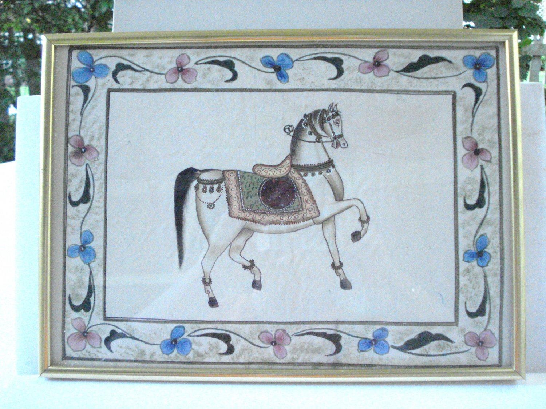 Handpainted carousel horses on silk pair framed vintage AL1476