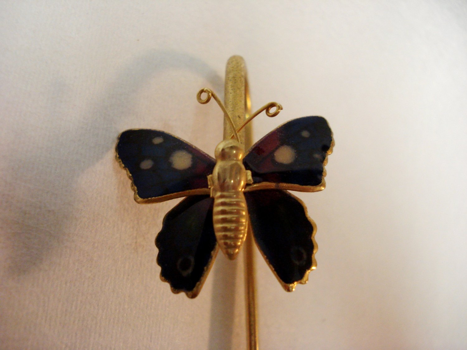 Cloisonne butterfly bookmark gold tone fixed metal rod preowned AL1511