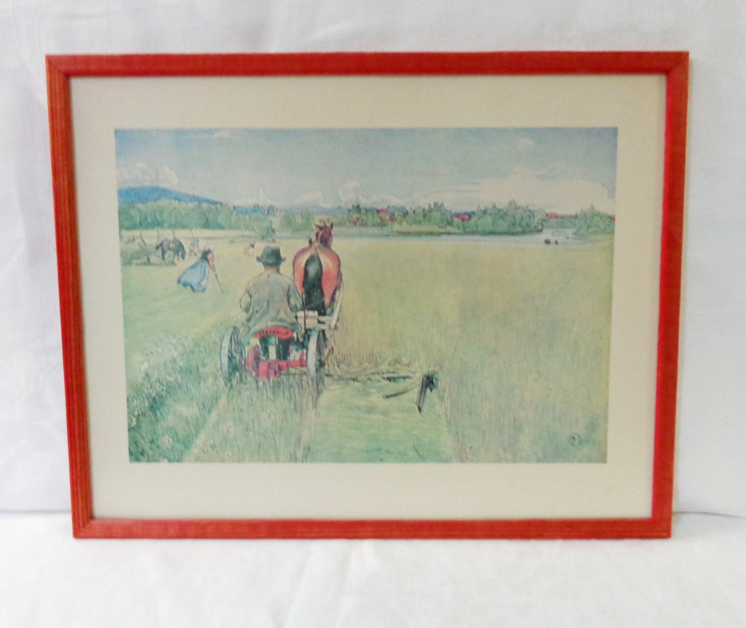 Carl Larrson framed print Haying vintage ready to hang AL1465