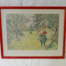 Carl Larrson print of apple harvest framed ready to hang vintage AL1364
