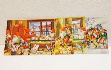 4 Swedish postcards elves Santa's Helpers gnomes artwork of Lars Carlsson and Erik Forsman AL1513