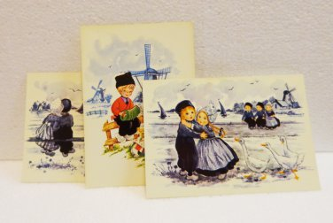 3 Art postcards Dutch children traditional costumes windmills sailboats unused vintage AL1514