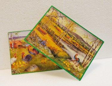 2 Swedish art postcards Erik Forsman farm scene roosters poultry vintage AL1515