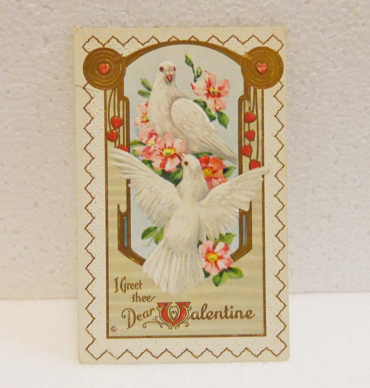 Antique white doves embossed Valentine postcard Feb 1913 postmark AL1516