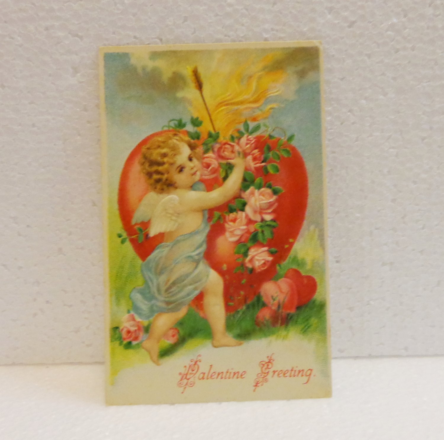 Antique Cupid roses heart embossed Valentine postcard 1908 AL1517