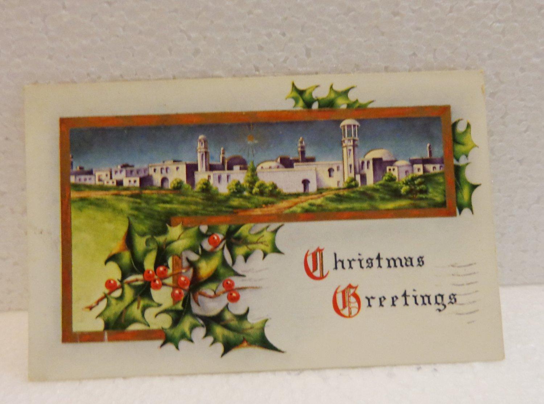 Antique Christmas postcard Bethlehem holly 1913 Postally used 1 cent stamp AL1518