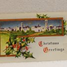 Antique Christmas postcard Bethlehem holly 1913 Postally used 1 cent stamp AL1518