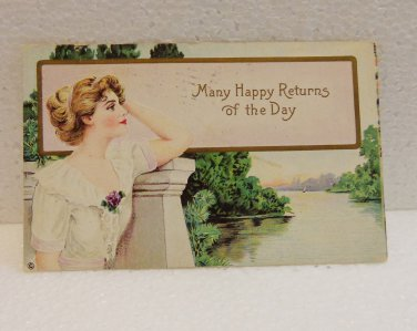 Vintage postcard Many Happy Returns of the Day 1912 used PC AL1520