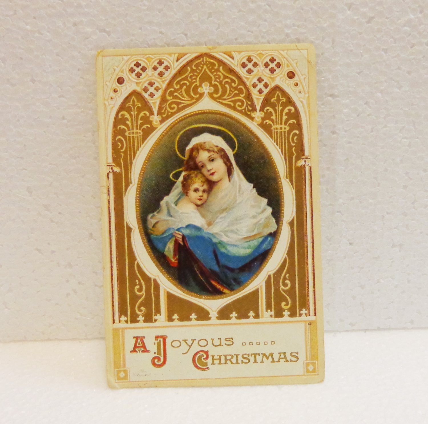 A Joyous Christmas Virgin and child vintage postcard 1913 used PC AL1521