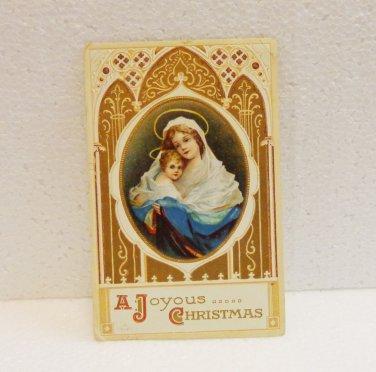 A Joyous Christmas Virgin and child vintage postcard 1913 used PC AL1521