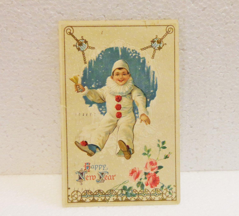 Happy New Year embossed vintage postcard clown postmarked 1912 AL1529