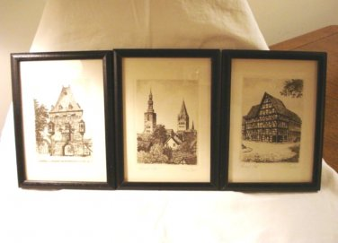 3 Medieval scenes small etchings framed signed numbered AL1732