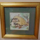 New forest cottage ink and watercolor sketch framed picture AL1548