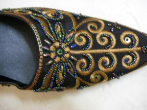 Classique Black Embroidered open backed court shoes Size US 8