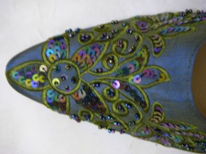 Classique Blue Embroidered/Beaded Open backed court shoes US 8