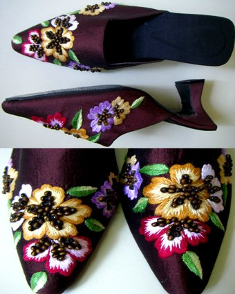 Classique Brown Embroidered/Beaded Open backed court shoes US5.5