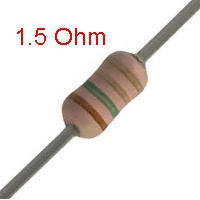 25 PCS 1/4W, 1.5 Ohm,  5% Carbon Film Resistors