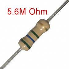 200 PCS 1/4W, 5.6M Ohm,  5% Carbon Film Resistors