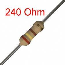 25 PCS 1/4W, 240 Ohm,  5% Carbon Film Resistors