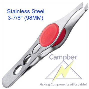 "3-7/8"" Stainless Steel Tweezer with Silicon Soft Grip"