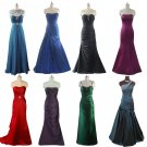 BLACK EVENING DRESS PROM BALL GOWN WEDDING BRIDESMAID
