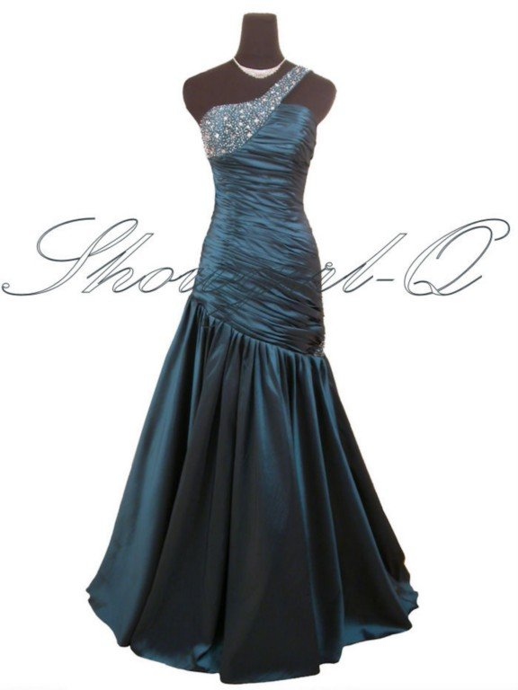 ONE SHOULDER TEAL EVENING DRESS PROM BALL GOWN WEDDING