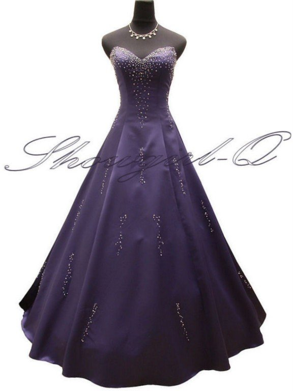 3499 PURPLE EVENING DRESS PROM BALL GOWN BRIDESMAID