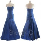 5242 Navy Blue Sweetheart pleat ruched strapless evening prom dress floor length