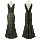 Black Lace Evening Dress V Neckline Long Prom Ball Gown Formal Occasion