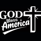 White Vinyl God Bless America Cross Decal Sticker