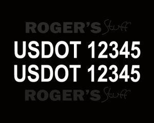 White Vinyl US DOT Sticker Decal Lettering Numbers