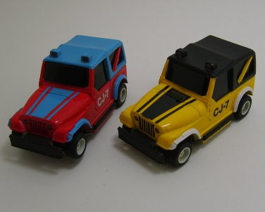 TYCO 1970s Red Blue Yellow Black 1 64 Jeep CJ7 Slot Cars