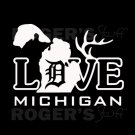 White Vinyl Love Detroit Michigan Decal Sticker