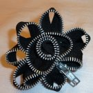 Black Zipper Flower Pin