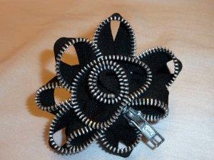 Black Zipper Flower Pin