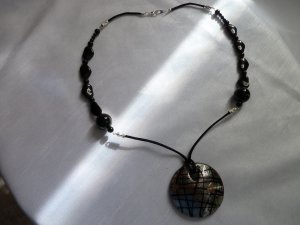 Black Glass Bead and Large Pendant Necklace