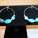 Blue and Silver Hoop Earrings
