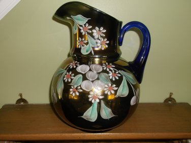 Vintage Northwood Carnival Glass Pitcher Enameled Cherries